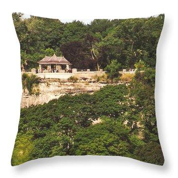 Stone Wall With Gazebo Throw Pillow