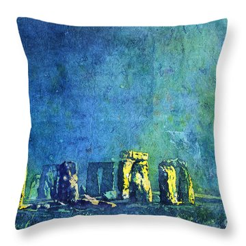Stonehenge In Moonlight Throw Pillow by Ryan Fox