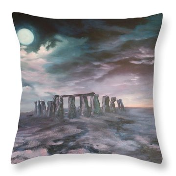 Throw Pillow featuring the painting Stonehenge In Wiltshire by Jean Walker