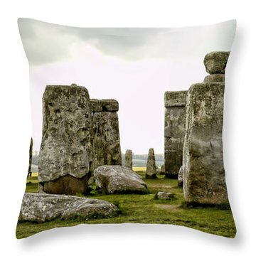 Stonehenge Panorama Throw Pillow by Jon Berghoff