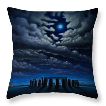 Stonehenge - The People's Circle Throw Pillow by Ric Nagualero