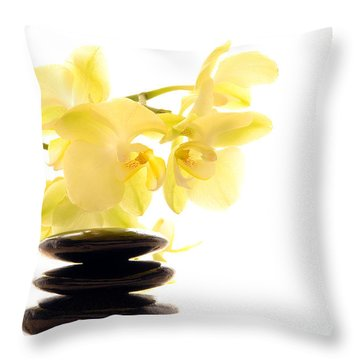 Stones And Orchid Throw Pillow by Olivier Le Queinec