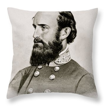 Stonewall Jackson Confederate General Portrait Throw Pillow by Anonymous