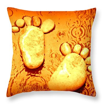 Throw Pillow featuring the photograph Stoney In The Rain by Clare Bevan