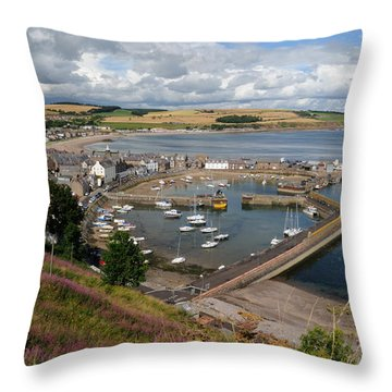 Stonhaven Harbour  Scotland Throw Pillow by Jeremy Voisey