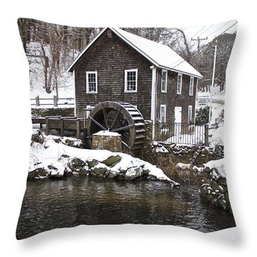 Stony Brook Grist Mill Of Brewster Throw Pillow