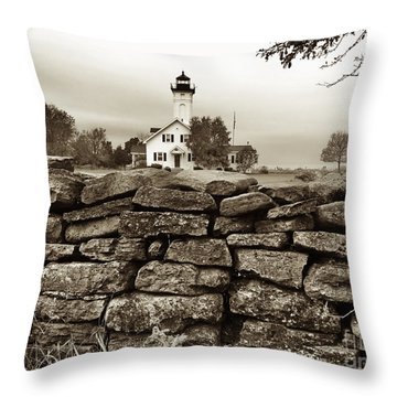 Stony Point Lighthouse Throw Pillow by Tony Cooper