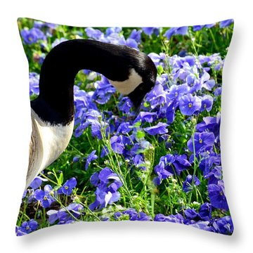 Stop And Smell The Flowers Throw Pillow by Maria Urso