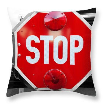 Stop Bw Red Sign Throw Pillow