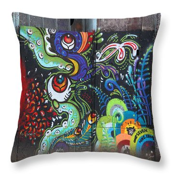 Stop For Skull Mural Graffiti Throw Pillow by Kym Backland