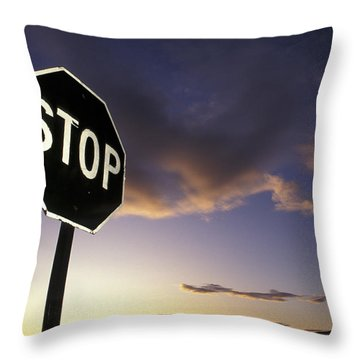 Stop Sign In Sunset Sky In Utah Throw Pillow