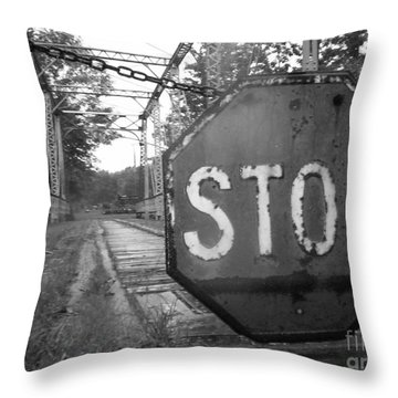 Stop Sign Throw Pillow by Michael Krek