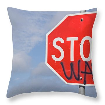 Throw Pillow featuring the photograph Stop War Sign by Charles Beeler