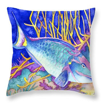 Stoplight Parrotfish Throw Pillow