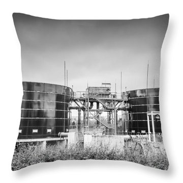 Throw Pillow featuring the photograph Storage Tanks by Gary Gillette