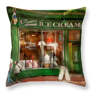 Store Front - Alexandria Va - The Creamery Throw Pillow by Mike Savad