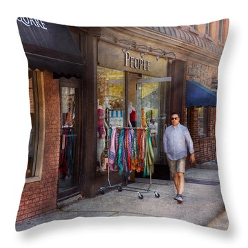 Store Front - Hoboken Nj - People Throw Pillow by Mike Savad
