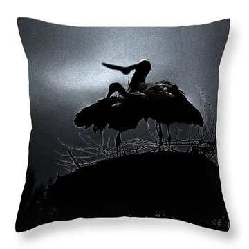 Stork Couple Throw Pillow