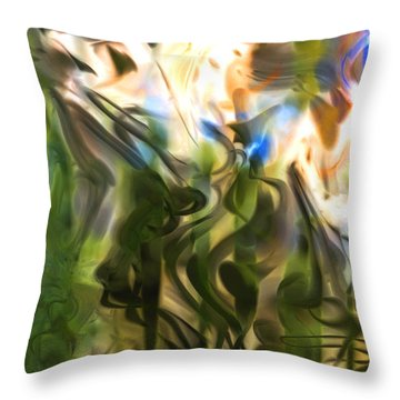 Throw Pillow featuring the digital art Stork In The Music Garden by Richard Thomas