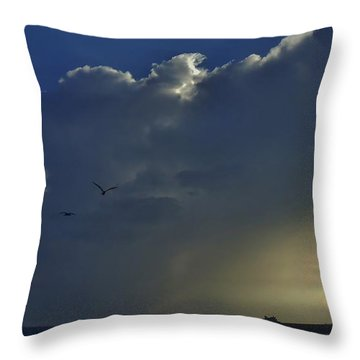 Throw Pillow featuring the photograph Storm Across Delaware Bay by Ed Sweeney