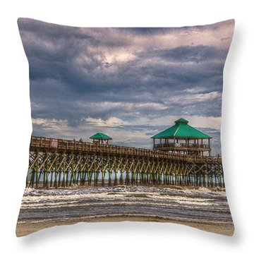 Storm Clouds Approaching - Hdr Throw Pillow