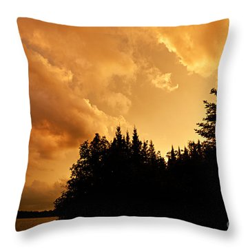 Storm Clouds At Sunset Throw Pillow by Larry Ricker