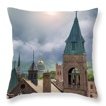 Storm Clouds In Charleston Wv Throw Pillow by Mary Almond