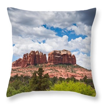 Throw Pillow featuring the photograph Storm Clouds Over Cathedral Rocks by Jeff Goulden