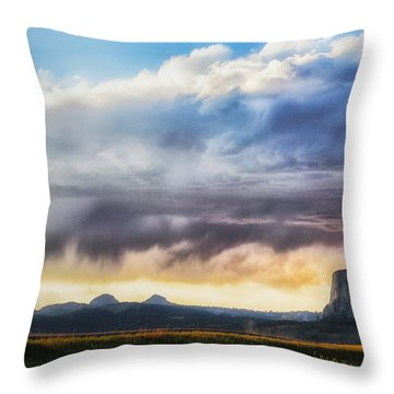 Storm Clouds Over Devils Tower Throw Pillow