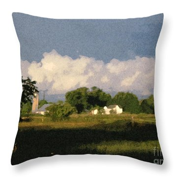 Storm Clouds Over Michigan Farm At Sunrise Throw Pillow