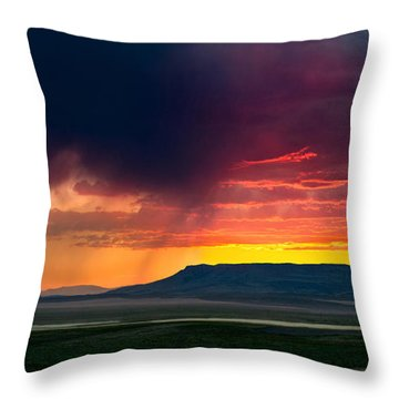 Storm Clouds Over Square Butte Throw Pillow