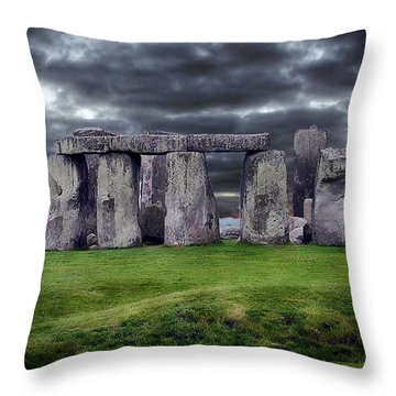 Storm Clouds Over Stonehenge Throw Pillow