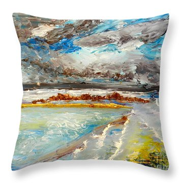 Storm Coming At Austinmer Beach Throw Pillow
