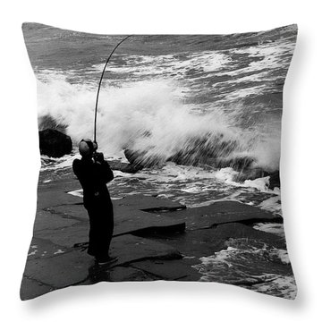 Storm Fishing Throw Pillow