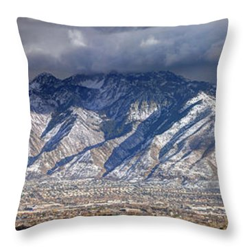 Storm Front Passes Over The Wasatch Mountains And Salt Lake Valley - Utah Throw Pillow