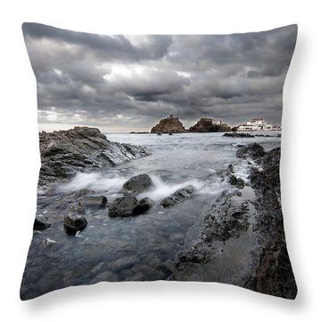 Storm Is Coming To Island Of Menorca From North Coast And Mediterranean Seems Ready To Show Power Throw Pillow by Pedro Cardona