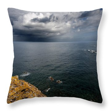 A Mediterranean Sea View From Sa Mesquida In Minorca Island - Storm Is Coming To Island Shore Throw Pillow