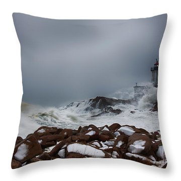 Storm Off Eastern Point Lighthouse Throw Pillow