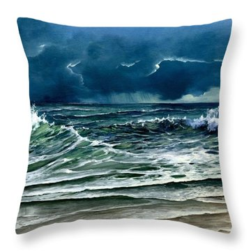 Throw Pillow featuring the painting Storm Off Yucatan Mexico by Lynne Wright