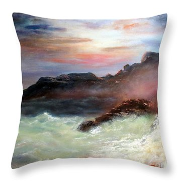 Storm On Mount Desert Island Throw Pillow by Lee Piper
