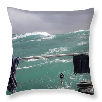 Storm On Tasman Sea Throw Pillow by Jola Martysz