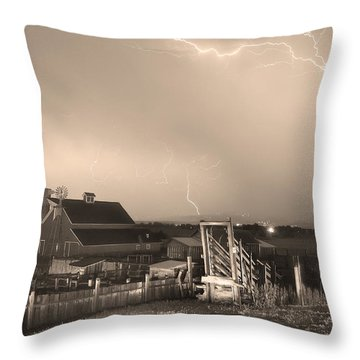 Storm On The Farm In Black And White Sepia Throw Pillow by James BO  Insogna