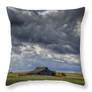 Storm Over Barn Throw Pillow