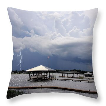 Throw Pillow featuring the photograph Storm Over Clay Lake by Rosalie Scanlon