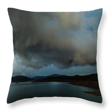 Storm Over Lake Shasta Throw Pillow