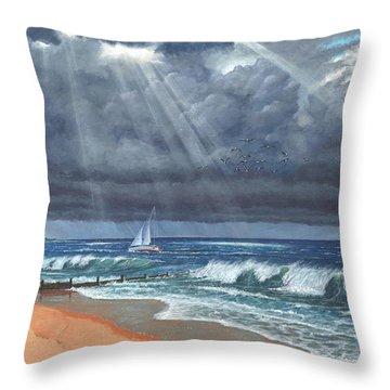 Storm Over Lindisfarne Throw Pillow by Richard Harpum
