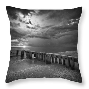 Storm Over Naples Florida Beach Throw Pillow