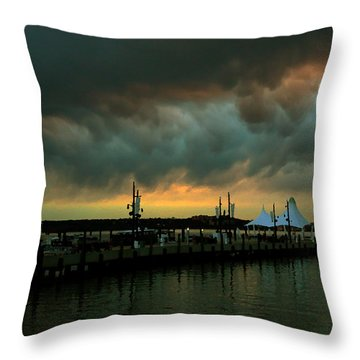 Storm Over National Harbor Oil Throw Pillow