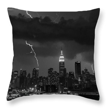 Storm Over Nyc  Throw Pillow by Jerry Fornarotto