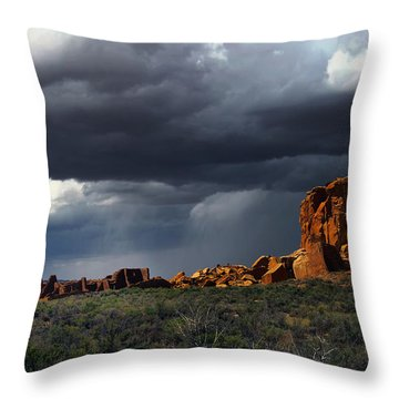 Storm Over Pueblo Bonito Throw Pillow